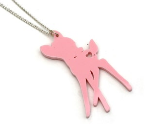 Fawn Necklace, Acrylic Deer Pendant Necklace