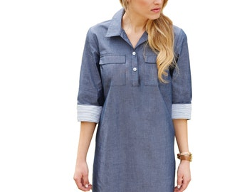 Monogrammed Chambray Shirt Dress