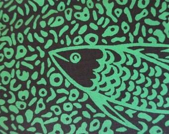 Giant Emerald Fish - Hand Printed fabric - Half Yard
