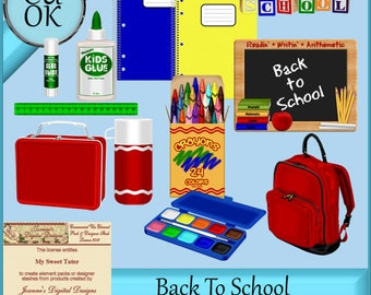Back To School Graphics Clipart Digital Scrapbook Elements