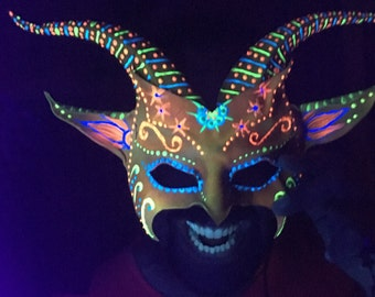 Black Light Reactive Flourescent Sugar Skull inspired Leather Goat Mask