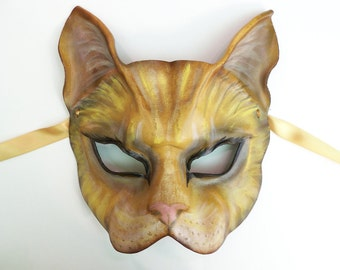 Cat Leather Mask tabby cat house cat palomino orange yellow base color