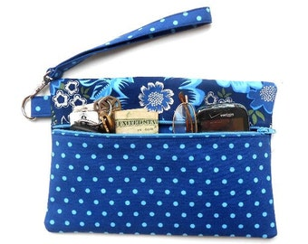 Blue Polka Dot Wristlet, Silver Floral Clutch, Front Zippered Wallet, Ladies Small Purse, Phone or Camera Bag, Makeup or Gadget Case