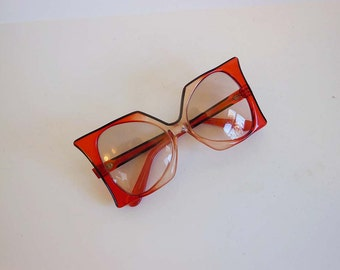 1960s sunglasses / Vintage 60's Oversized Red  Pierre Cardin Delphine Sunglasses Glasses