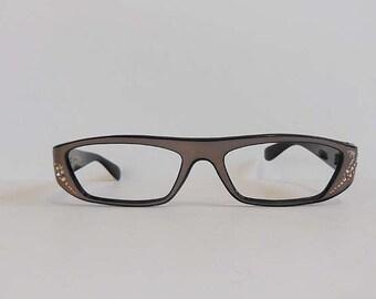 1950s eyeglasses / Sleek Vintage 50's Italian Rhinestone Glasses