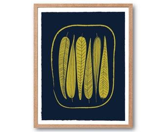 Leafs Print - Golden Yellow , Vintage illustration, Stig Lingberg , Art Illustration, Children Room decor, Kids room art, Nursery room Art
