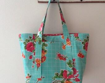 Beth's Aqua Vintage Rose Oilcloth Multi Market Tote Bag