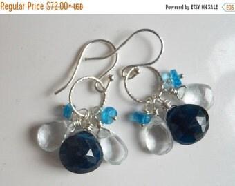 FLASH SALE, Blue Apatite and Aquamarine Loop Earrings, Cluster Earrings, gemstone earrings