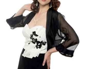 Promo Sale Black Formal Bolero Jacket CHRISTINA/ 100% Silk / Sizes XS - 4XL  / Available in 36 colors
