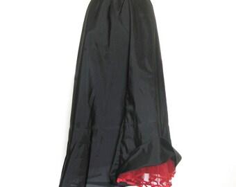 Slip with Ruffles / Crinoline Slip / 1950s Black Lingerie / Red Crinoline Hem / Dance Skirt Slip / Rockabilly / Linda Lingerie
