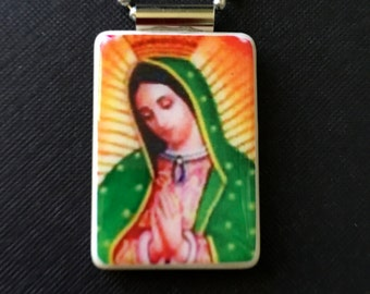 Our Lady of Guadalupe jewelry, religious jewelry, virgin mary necklace, our lady of guadalupe necklace, Catholic gift, Christian jewelry