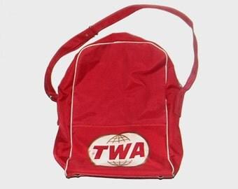 1980s travel bag / vintage 80s luggage / tote / Red TWA Travel Bag