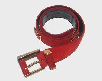 1970s belt / vintage 70s belt / suede leather / OSFM / Red Suede Geometric Belt