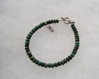 Faceted Turquoise Agate Stone Sterling Toggle Bracelet Kelln Kelin