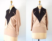 Vintage 80s Black and Taupe Knit Blouson Top