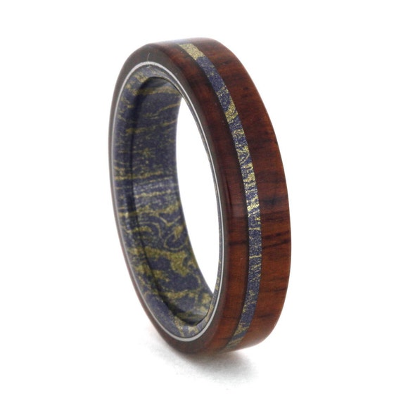 Mokume Gane Ring Men Or Womens Wood Wedding Band By