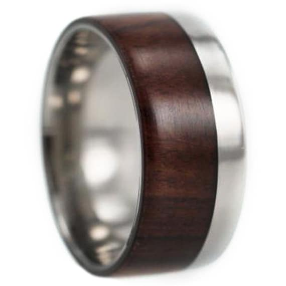 Wooden Ring, Titanium Wedding Band With Ironwood, Two Tone Ring