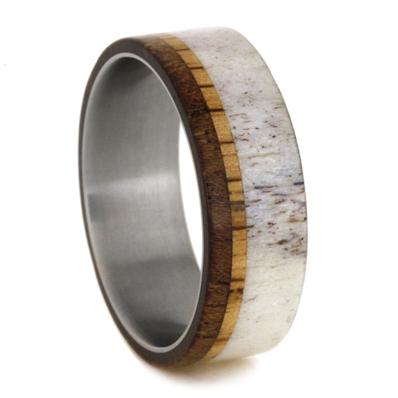 antler and wood wedding band mens titanium ring by