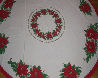 Vintage Christmas Poinsettia Holly Linen Cloth Fabric Round Table Cloth