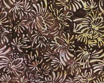 NEW - One yard - Brown Floral Batik - 9208