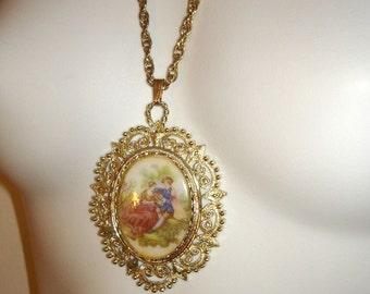 vintage large Renaissance transfer painting gold filigree pendant necklace