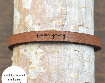 forever young - adjustable leather bracelet  (additional colors available)