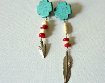 Turquoise Cross And Coral Earrings