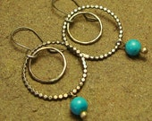 Turquoise Beaded Double Round Hoop Sterling Silver Dangle Earrings