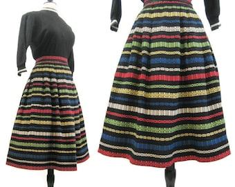 Vintage 50s 60s Full Skirt Striped Woven Black Ethnic Jonathan Logan S