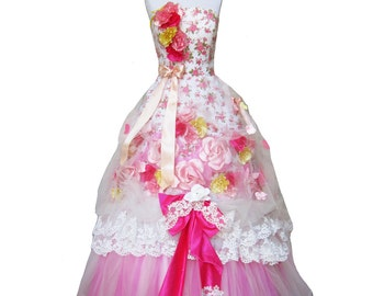Floor length floral PINK Gown Teaparty Collection Gown Ravishing Corset Tea Princess custom sized