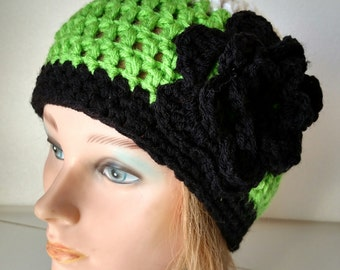 Ladies Hand Crocheted Beanie with Flower.  Lime Green, White and Black.