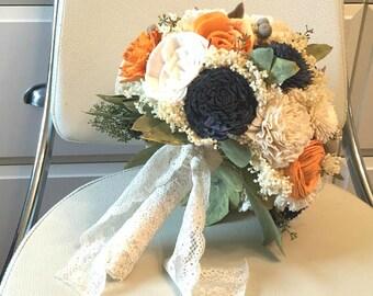 Orange, Navy Blue and Ivory Wedding Bouquet - sola flowers - Customize colors - Alternative bridal bouquet - bridesmaids bouquet