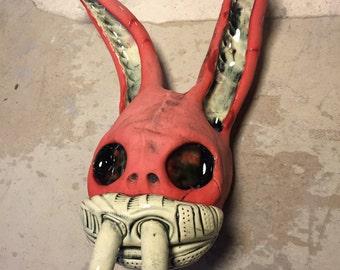 Rabbit Oni , donni darko, wall hanging, ceramic sculpture , mask