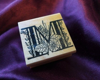 Monogram Letter M Botanical Rubber Stamp