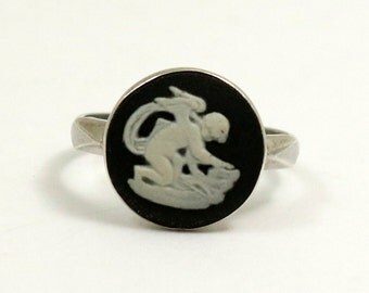 Vintage Wedgwood Ring Sterling Silver Black Jasper Cameo Ring Cherub Cupid Wedgewood Ring US Ring Size 7.25 UK Size O
