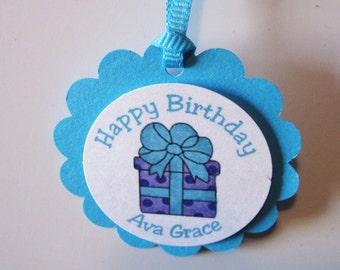 12 - Purple & Teal Present Birthday Favor Tag