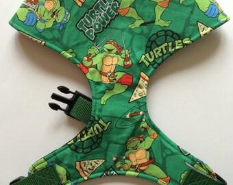 Pug Dog harness - Teenage Turtles, Custom Made Soft Dog Harness