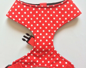 Pug Dog harness - Red Polka Dot, Custom Made Soft Dog Harness SALE