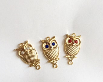 1pc -Bright Gold plated OWL with Swarovski bead connector, charm-35x18mm-(017-058GP)