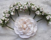 60pc Chic BEIGE TAN Polymer Clay Satin Ribbon Wired Rose Flower Applique Embellishment