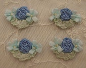 4pc Vintage Chic BLUE Silk Ribbon Embroidered Daisy Spider Rose Flower Applique Christening Gown Baby Doll Hair Bow