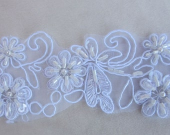 2 Inch White Pearl Sequin Beaded Flower Glass Bugle Bead Applique Lace Trim Bridal Veil Dress Christening Hair Baby Bow