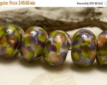 ON SALE 50% OFF Seven Wisteria Garden Rondelle Beads - Handmade Glass Lampwork Bead Set 10603401