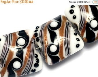 ON SALE 50% OFF Four Sophisticated Trio Pillow Beads - Handmade Glass Lampwork Bead Sets 10204514