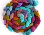 Finn Wool Roving - Hand Painted Spinning or Felting Fiber, Mahogany and Blue