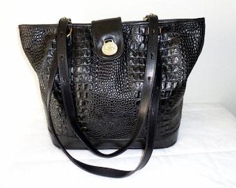 sale Brahmin larger size  tote satchel purse, work bag black crock +smooth Italian leather dual strap vintage