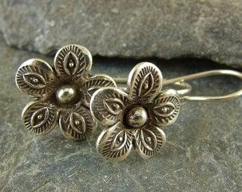 Handmade Fine Silver Textured Flower Earrings - Botanical Jewelry