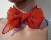Nylon Scarf  Vintage Nylon wrap  Burnt Orange Vintage scarf.