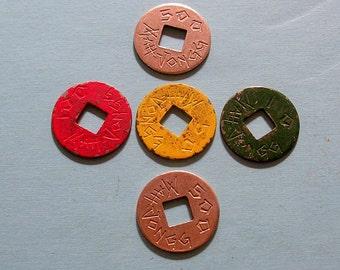 Antique Vintage Mah Jong Coins Antique Vintage Metal Mah Jong Coins Mahjong Coins 1923