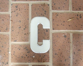 Vintage Metal Sign Metal Letter C Sign Chippy Painted Letter C Sign Old Rusty Letter C 6 Inches Tall